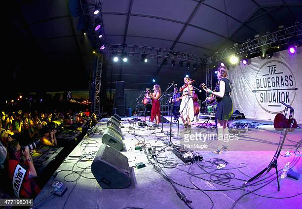 Musicians perform onstage at That Tent as part of The Bluegrass Situation SuperJam during Day 4 of the 2015 Bonnaroo Music And Arts Festival on June...
