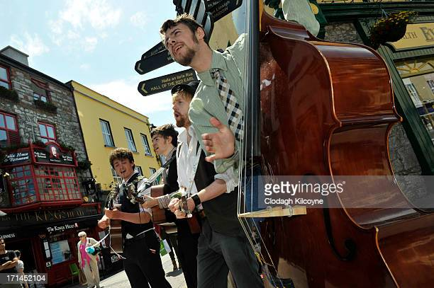 Musicians perform to welcome Douglas Kennedy and his family who is visiting Galway as part of commemorations for the 50th anniversary of the visit by...