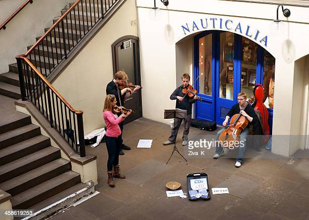 musicians performing at covent garden - string quartet stock photos and pictures