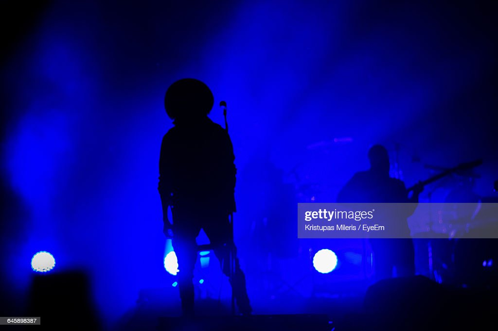 Musicians Performing On Stage At Night : Stock Photo