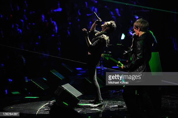 Musicians Perry Farrell and Chris Chaney of Jane's Addiction perform onstage at the iHeartRadio Music Festival held at the MGM Grand Garden Arena on...