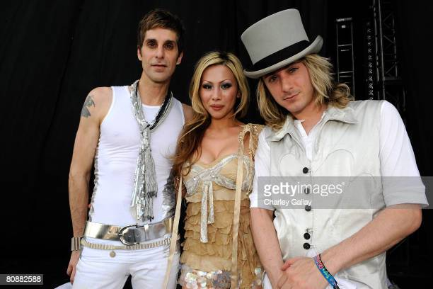 Musicians Perry Farrell wife Etty Farrell and Carl Restivo after performing during day 3 of the Coachella Valley Music and Arts Festival at the...