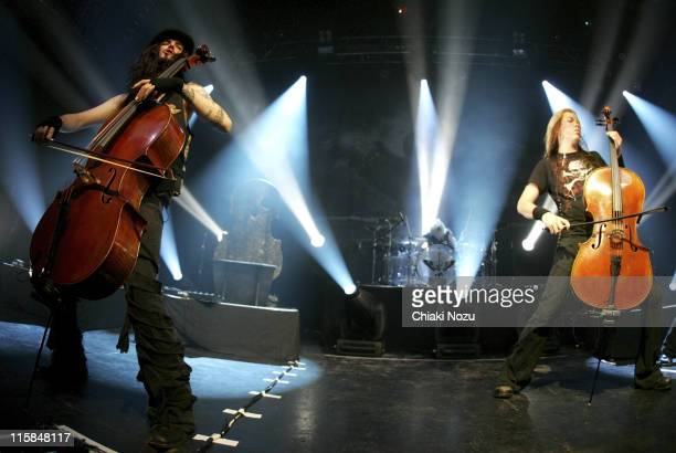 Musicians Perttu Kivilaakso and Eicca Toppinen of Apocalyptica perform in concert at Astoria on December 11 2007 in London England The Finnish cello...