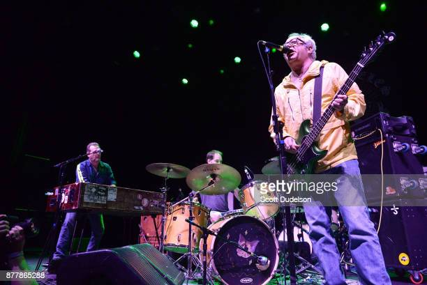 Musicians Pete Mazich Jerry Trebotic and Mike Watt of The Secondmen perform an opening set during X 40th anniversary tour at The Novo by Microsoft on...