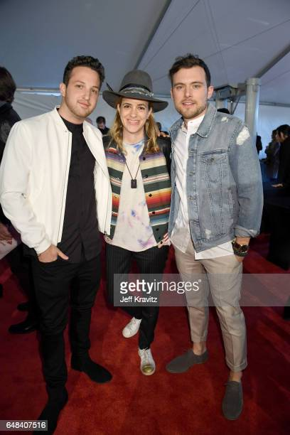 Musicians Pete Nappi Samantha Ronson and Ethan Thompson of Ocean Park Standoff attend the 2017 iHeartRadio Music Awards which broadcast live on...