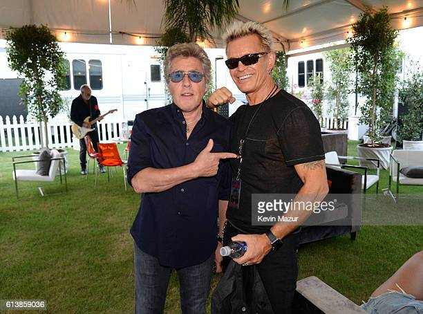 Musicians Pete Townshend Roger Daltrey of The Who and Billy Idol attend Desert Trip at The Empire Polo Club on October 9 2016 in Indio California