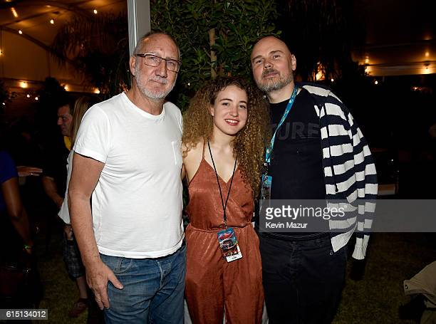 Musicians Pete Townshend Tal Wilkenfeld and Billy Corgan attend Desert Trip at The Empire Polo Club on October 16 2016 in Indio California