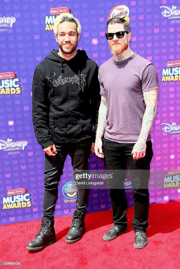 Musicians Pete Wentz (L) and Andy Hurley attend the 2016 Radio Disney Music Awards at Microsoft Theater on April 30, 2016 in Los Angeles, California.