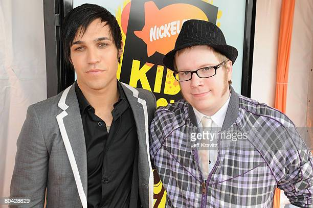 Musicians Pete Wentz and Patrick Stump of Fall out Boy arrive on the red carpet at Nickelodeon's 2008 Kids' Choice Awards at the Pauley Pavilion on...