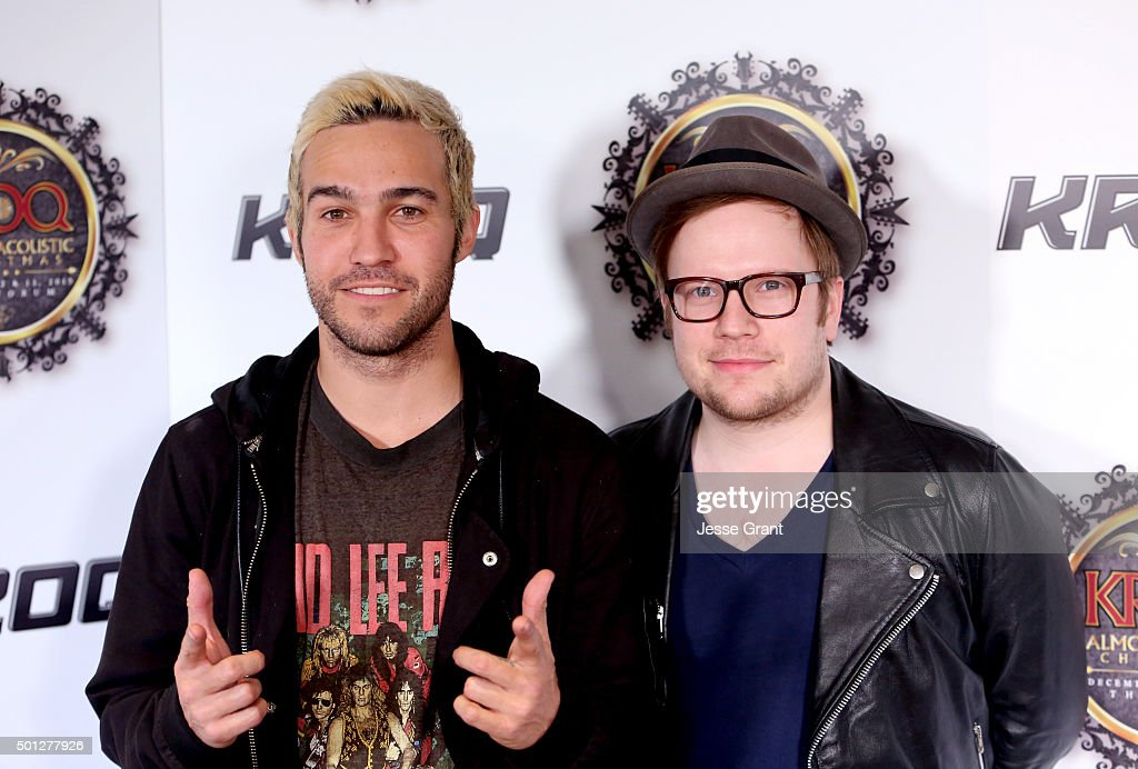 Musicians Pete Wentz (L) and Patrick Stump of Fall Out Boy attend 106.7 KROQ Almost Acoustic Christmas 2015 at The Forum on December 13, 2015 in Los Angeles, California.