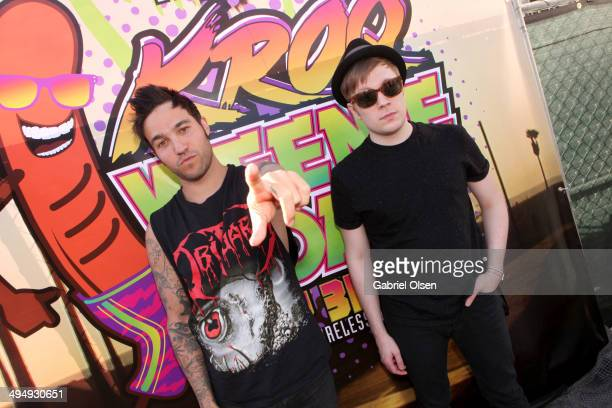 Musicians Pete Wentz and Patrick Stump of Fall Out Boy pose backstage during the 22nd Annual KROQ Weenie Roast at Verizon Wireless Music Center on...