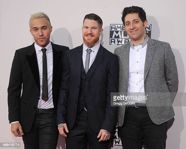 Musicians Pete Wentz Andy Hurley and Joe Trohman of Fall Out Boy arrive at the 2015 American Music Awards at Microsoft Theater on November 22 2015 in...