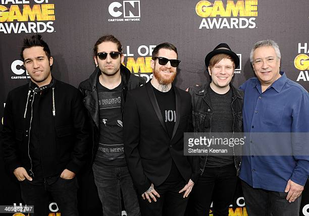 Musicians Pete Wentz Joe Trohman Andy Hurley and Patrick Stump of Fall Out Boy and President COO of TBS Animation Stuart Snyder attend Cartoon...