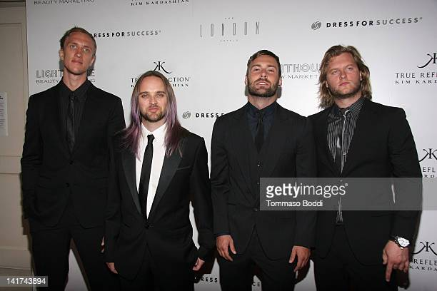 Musicians Peter Carlsson Chad Wolf Rickard Goransson and Johan Carlsson attend the True Reflection fragrance launch benefiting dress for success held...