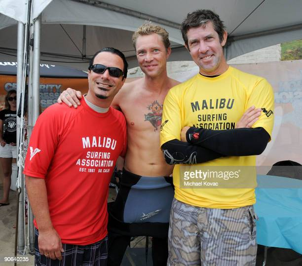 Musicians Peter DiStefano Martyn LeNoble and Eric Avery attend the 4th Annual Surfrider Foundation Celebrity Expression Session at First Point...