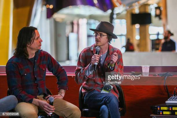 Musicians Peter Droge and Ian Moore speak at the GRAMMYPro Songwriter's Summit at Museum of Pop Culture on April 30 2017 in Seattle Washington