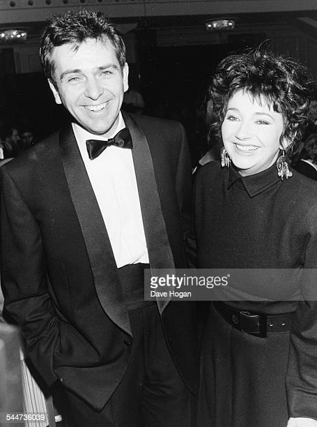 Musicians Peter Gabriel and Kate Bush attending the BPI Awards after winning in their categories London February 10th 1987