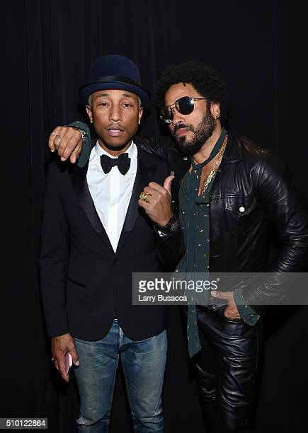 Musicians Pharrell Williams and Lenny Kravitz attend the 2016 MusiCares Person of the Year honoring Lionel Richie at the Los Angeles Convention...
