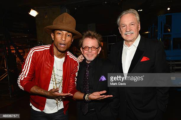 Musicians Pharrell Williams, Paul Williams and Giorgio Moroder attend the 56th GRAMMY Awards at Staples Center on January 26, 2014 in Los Angeles,...