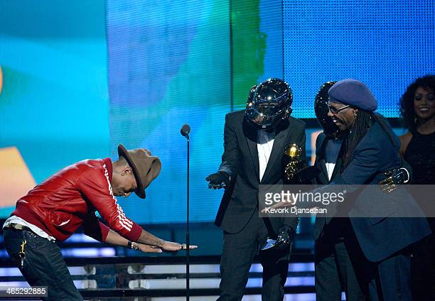 Musicians Pharrell Williams Thomas Bangalter and GuyManuel de HomemChristo of Daft Punk and Nile Rodgers accept the Best Pop Duo/Group Performance...