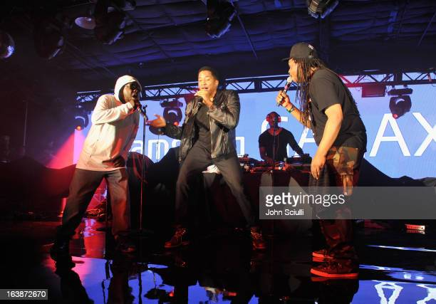 Musicians Phife Dawg QTip Ali Shaheed Muhammad and Jarobi White of A Tribe Called Quest perform as Samsung Galaxy presents A Tribe Called Quest and...