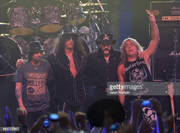 Musicians Phil Campbell of Motorhead Slash Lemmy Kilmister and Mikkey Dee of Motorhead perform onstage during day 3 of the 2014 Coachella Valley...