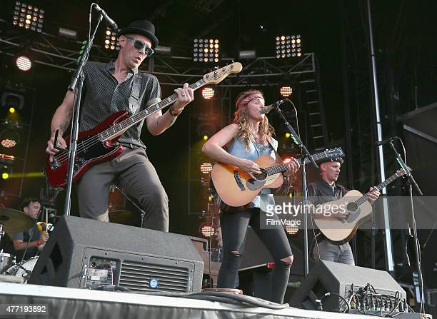 Musicians Phil Hanseroth Brandi Carlile and Tim Hanseroth performs onstage at Which Stage during Day 4 of the 2015 Bonnaroo Music And Arts Festival...