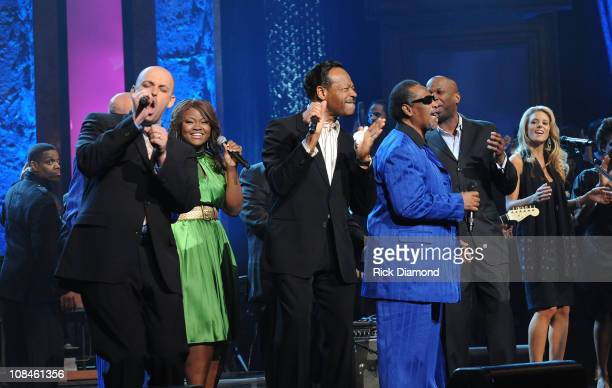 Musicians Phil Stacey Edwin Hawkins and The Blind Boys of Alabama perform onstage at the 40th Annual GMA Dove Awards held at the Grand Ole Opry House...
