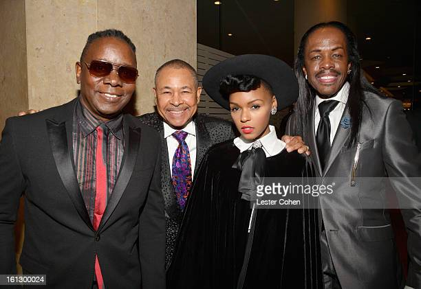 Musicians Philip Bailey Ralph Johnson and Verdine White of Earth Wind Fire with singer Janelle Monae arrive at the 55th Annual GRAMMY Awards...