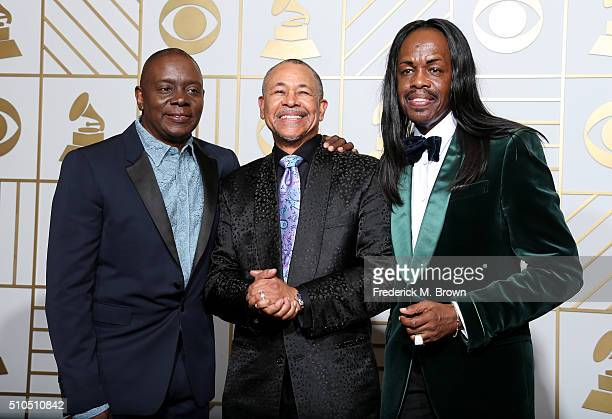Musicians Philip Bailey Ralph Johnson and Verdine White of Earth Wind Fire pose in the press room during The 58th GRAMMY Awards at Staples Center on...