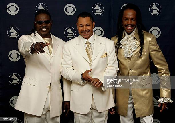 Musicians Philip Bailey Ralph Johnson and Verdine White of Earth Wind and Fire pose in the press room at the 49th Annual Grammy Awards at the Staples...