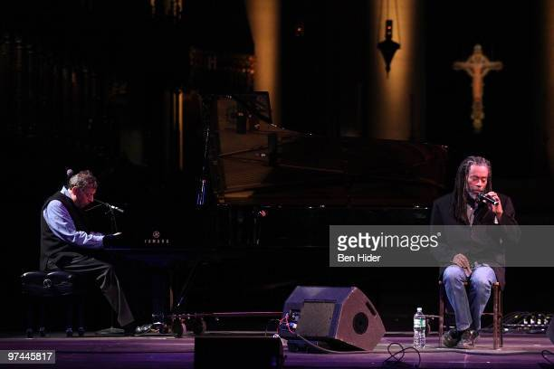 Musicians Philip Glass and Bobby McFerrin perform at Thank You Tibet at the Cathedral of St John the Divine on March 4 2010 in New York City