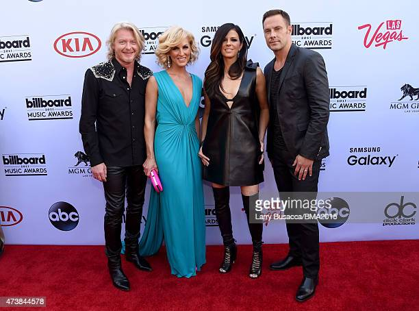 Musicians Philip Sweet Kimberly Schlapman Karen Fairchild and Jimi Westbrook of Little Big Town attend the 2015 Billboard Music Awards at MGM Grand...