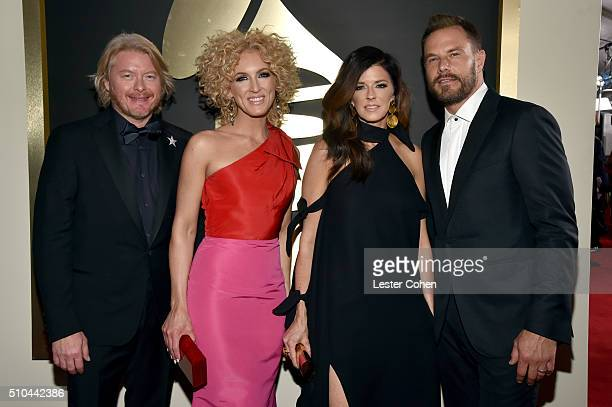 Musicians Philip Sweet Kimberly Schlapman Karen Fairchild and Jimi Westbrook of Little Big Town attend The 58th GRAMMY Awards at Staples Center on...