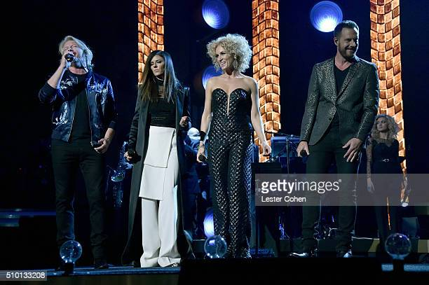 Musicians Phillip Sweet Karen Fairchild Kimberly Roads Schlapman and Jimi Westbrook of Little Big Town perform onstage during the 2016 MusiCares...