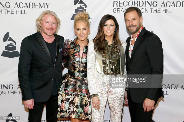 Musicians Phillip Sweet Kimberly Schlapman Karen Fairchild and Jimi Westbrook of Little Big Town attend Grammys on the Hill Awards Dinner on April 18...
