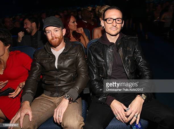 Musicians Phoenix Farrell and Chester Bennington of Linkin Park pose in the audience at the 40th American Music Awards held at Nokia Theatre LA Live...