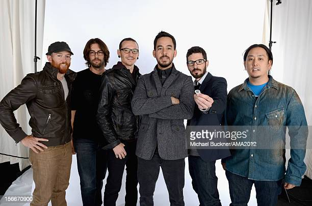 Musicians Phoenix Farrell Rob Bourdon Chester Bennington Mike Shinoda Brad Delson and Joe Hahn of Linkin Park poses for a portrait at the 40th...