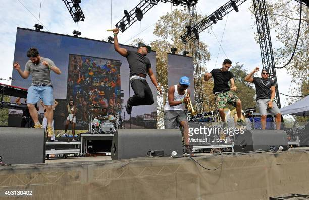 Musicians Piers Agget DJ Locksmith Amir Amor and Kesi Dryden of Rudimental perform during Day 2 of the HARD Summer 2014 festival at Whittier Narrows...