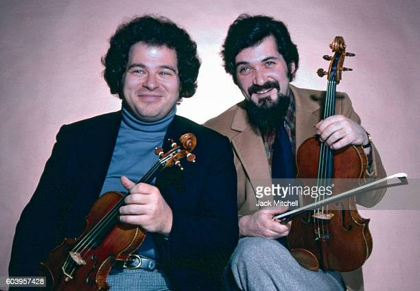 Musicians Pinchas Zukerman and Itzhak Perlman photographed in December 1979