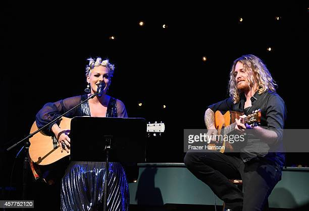 Musicians Pink and Justin Derrico perform at Power of Pink 2014 Benefiting the Cancer Prevention Program at Saint John's Health Center at House of...
