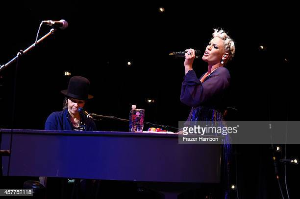 Musicians Pink and Linda Perry perform at Power of Pink 2014 Benefiting the Cancer Prevention Program at Saint John's Health Center at House of Blues...