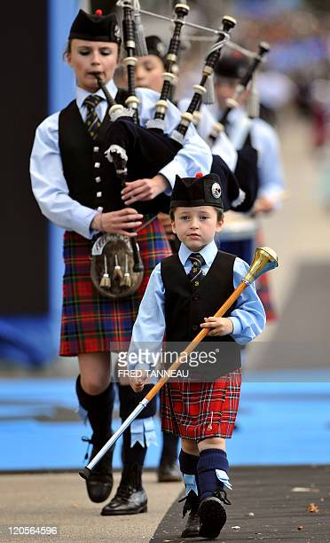 Musicians play bagpipes on August 7 2011 in Lorient during the celtics nations Great Parade of the 'festival interceltique de Lorient' It is the 41st...