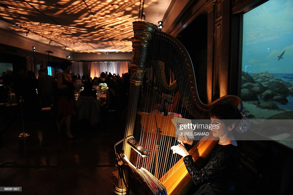 Musicians play before US President Barack Obama speaks at a fundraising reception for Senator Barbara Boxer and the DNC at the Museum of Natural History in Los Angeles, California, on April 19, 2010. AFP PHOTO/Jewel SAMAD