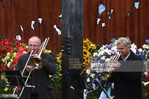 Musicians play during 40th anniversary memorial event of the Oktoberfest attack in Munich on September 26 2020 The attacker Gundolf Koehler was among...