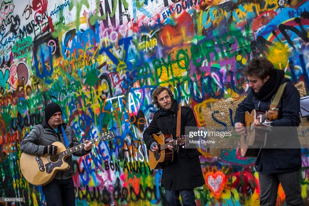Tributes To John Lennon In Prague On The Anniversary Of His Death : News Photo