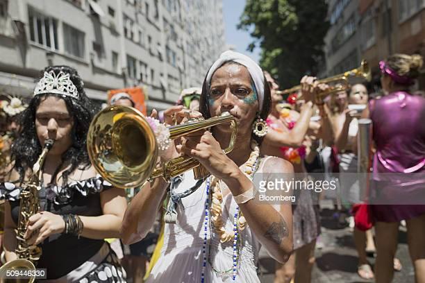 Musicians play instruments during the Bloco das Mulheres Rodadas Carnival parade in Rio de Janeiro, Brazil, on Wednesday, Feb. 10, 2016. The Bloco...