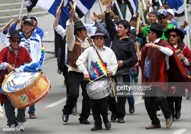 Musicians play panpipes and drums in front of the Government Palace during the celebration of the 12th anniversary of Evo Morales' government at...