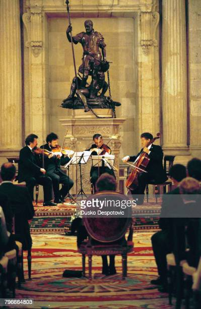Musicians playing on national heritage Stradivarius strings before Queen Sophie