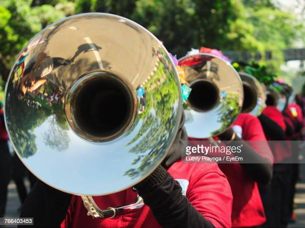 Musicians Playing Trumpet In Parade